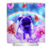 Rainbow Unicorn Pug In The Clouds In Space Shower Curtain