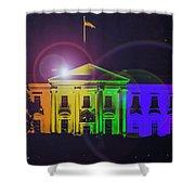 Rainbow White House Flare Shower Curtain