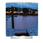 Raindrops On Metal Bench 5 Shower Curtain