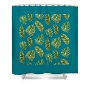 Rainforest Resort - Tropical Leaves Elephant's Ear Philodendron Banana Leaf Shower Curtain
