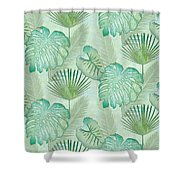 Rainforest Tropical - Elephant Ear And Fan Palm Leaves Repeat Pattern Shower Curtain