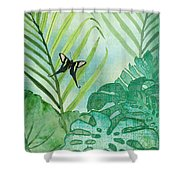 Rainforest Tropical - Philodendron Elephant Ear And Palm Leaves W Botanical Butterfly Shower Curtain