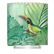 Rainforest Tropical - Tropical Toucan W Philodendron Elephant Ear And Palm Leaves Shower Curtain