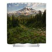 Rainier And Majestic Meadows Of Wildflowers Shower Curtain