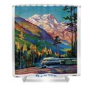 Rainier National Park Vintage Poster Restored Shower Curtain