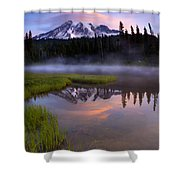 Rainier Sunrise Cap Shower Curtain