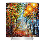 Rainy Autumn Evening In The Park Acrylic Palette Knife Painting Shower Curtain