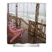 Rainy Beach Evening Shower Curtain