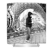 Rainy Day At The Wat Phra That Temple Shower Curtain