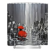Rainy Day City Girl In Red Shower Curtain