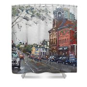 Rainy Day In Downtown Brampton On Shower Curtain