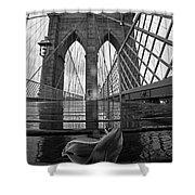 Rainy Day On The Brooklyn Bridge Brooklyn New York Tulip Petals Black And White Shower Curtain