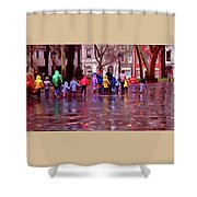 Rainy Day Rainbow - Children At Independence Square Shower Curtain