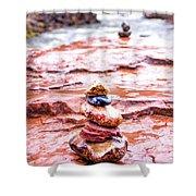 Rainy Day Stone Cairns In Sedona Shower Curtain