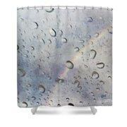 Rainy Rainbow Shower Curtain