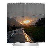 Rainy Sunset Shower Curtain