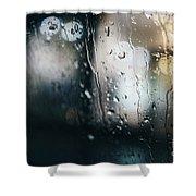 Rainy Window City Lights Shower Curtain
