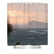 Rainy Xmas Sunrise Shower Curtain