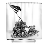 Raising The Flag Shower Curtain