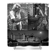 Rajasthan Collage Bw Shower Curtain