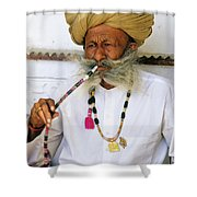 Rajasthani Elder Shower Curtain by Michele Burgess
