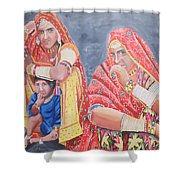 Rajasthani Ladies With Traditional Jewelry Shower Curtain