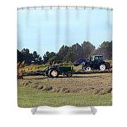 Raking And Baling Hay In Texas Shower Curtain