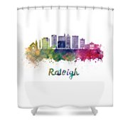 Raleigh V2 Skyline In Watercolor Shower Curtain