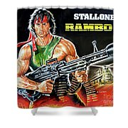 Rambo 2 Sylvester Stallone Paintinf Shower Curtain