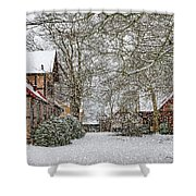 ramlosa brunnspark Snowfall Shower Curtain