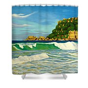 Ramy Base Beach Shower Curtain by Milagros Palmieri