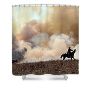 Rancher Starting A Controlled Burn Shower Curtain