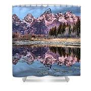 Grand Teton Snow Capped Reflections Shower Curtain