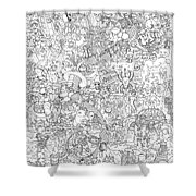 Random And Pop-culture Themed Coloring Poster Shower Curtain