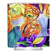 Ranunculus And Iris Shower Curtain