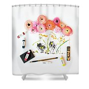 Ranunculus With First Watercolor Shower Curtain