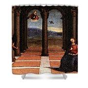 Raphael The Annunciation  Oddi Altar Predella  Shower Curtain