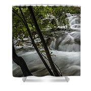 Rapids In Forest  Shower Curtain