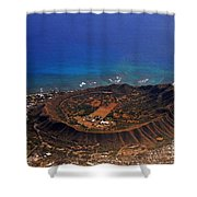 Rare Aerial View Of Extinct Volcanic Crater In Hawaii.  Shower Curtain