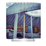 Rare Los Angeles Historical Architecture Site With Graffiti  Shower Curtain
