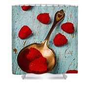 Raspberries With Antique Spoon Shower Curtain