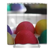 Raspberry And Hawaiian Surf Colored Easter Eggs Shower Curtain