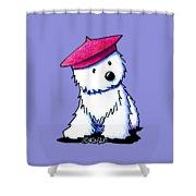 Raspberry Beret Westie Shower Curtain