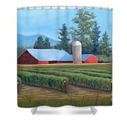 Raspberry Fields Forever Shower Curtain