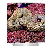 Rattlesnake In Abstract Shower Curtain