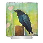 Raven In The Garden Shower Curtain