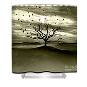 Raven Valley Shower Curtain by Jacky Gerritsen