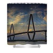 Ravenel Bridge Sunset Shower Curtain