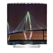 Ravenel Bridge Twilight Shower Curtain