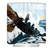 Ravens And The Stormy Sea Shower Curtain